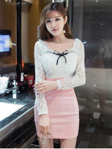 Open Back Lace Splicing Bowknot Bodycon Dress