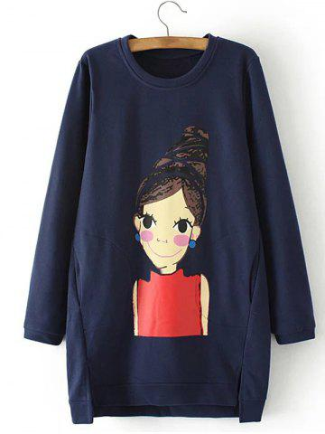 Best Fleece Cartoon Girl Print Asymmetric Sweatshirt PURPLISH BLUE 4XL