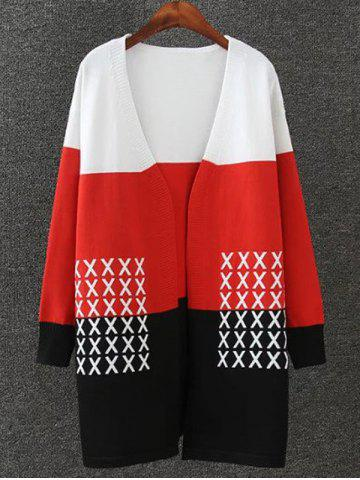 Outfit Color Splicing Cross Pattern Knitted Cardigan BLACK AND WHITE AND RED 4XL