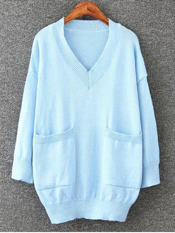 Hot Long Pullover Plus Size V Neck Sweater with Pockets