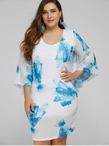 Latest Plus Size Batwing Sleeve Leaves Print Bodycon Dress BLUE 3XL