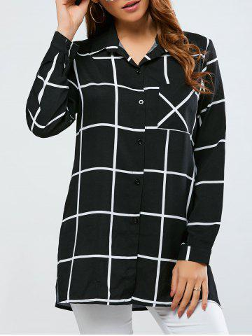 Cheap Split Plaid Loose Shirt