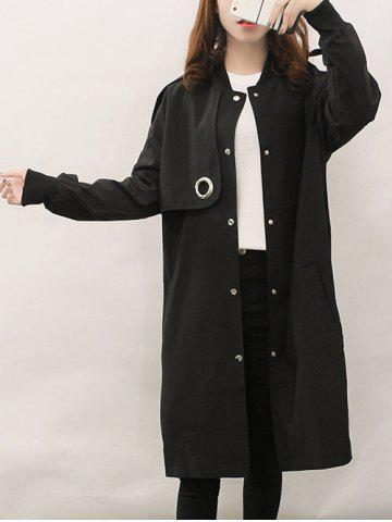 Shops Single Breasted Long Coat With Pocket