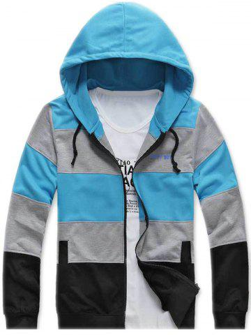 Outfit Color Striped Side Pocket Zip Up Hoodie AZURE 2XL