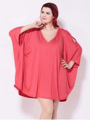 Online Asymmetric Cold Shoulder Batwing Sleeves Dress WATERMELON RED 5XL