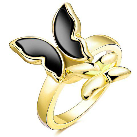 Cheap Butterfly Enamel Polished Alloy Ring - 8 BLACK Mobile