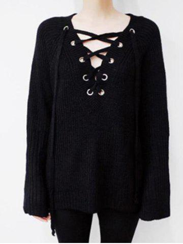 Online Batwing Sweater with Criss Cross Bandage BLACK ONE SIZE