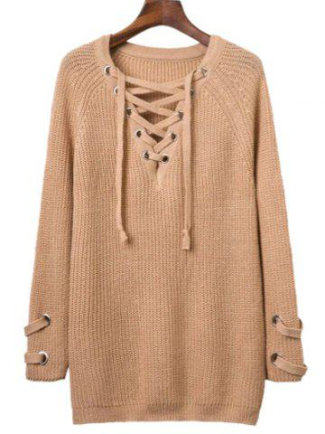 Outfits Batwing Sweater with Criss Cross Bandage
