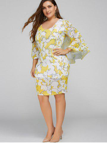 Plus Size Batwing Sleeve Printed Bodycon Dress - Yellow - Xl