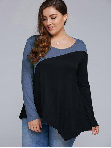 Online Plus Size Asymmetrical T-Shirt BLUE AND BLACK 5XL