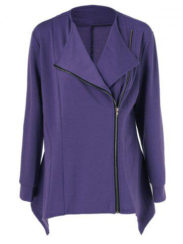 Discount Plus Size Side Zipper Asymmetrical Jacket