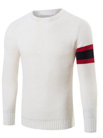 Hot Stripes Pattern Knitting Crew Neck Sweater WHITE 2XL