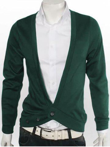 Unique Slimming One Button V-Neck Cardigan - 3XL GREEN Mobile