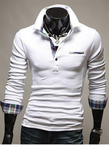 Trendy Front Pocket Plaid Splicing Long Sleeve Polo T-Shirt - L WHITE Mobile