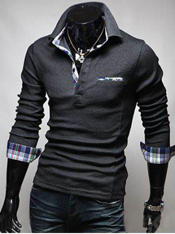 Latest Front Pocket Plaid Splicing Long Sleeve Polo T-Shirt - XL DEEP GRAY Mobile