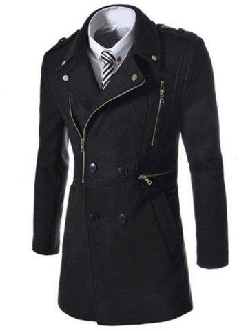 Affordable Asymetrical Zipper Lapel Wool Blend Coat BLACK 2XL