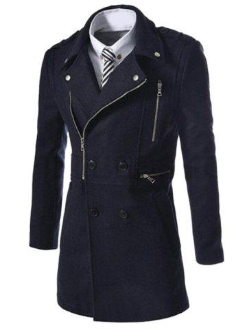 Outfits Asymetrical Zipper Lapel Wool Blend Coat CADETBLUE L