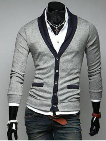 Discount Two Pocket Styling Shawl Collar Cardigan LIGHT GRAY 2XL