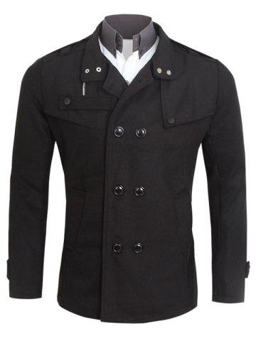 Pocket Turn-Down Collar Woolen Coat
