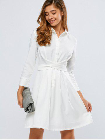 Chic Self-Tie A Line Long Sleeve Shirt Dress WHITE XL