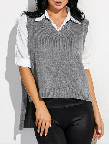 Hot High Low Sweater V Neck Vest GRAY ONE SIZE