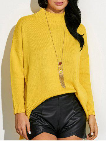 Shop High Neck Asymmetric Slit Sweater GINGER ONE SIZE
