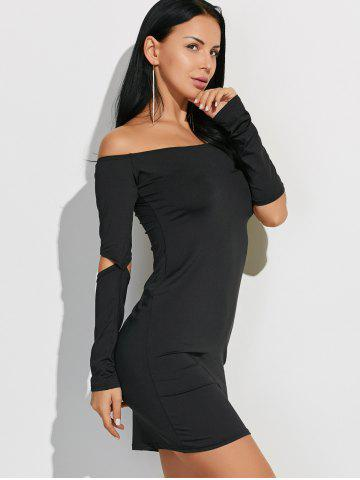 Cheap Off-The-Shoulder Cut Out Bodycon Dress - XL BLACK Mobile