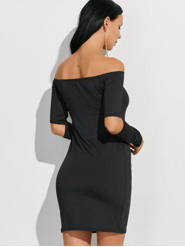 Buy Off-The-Shoulder Cut Out Bodycon Dress - M BLACK Mobile