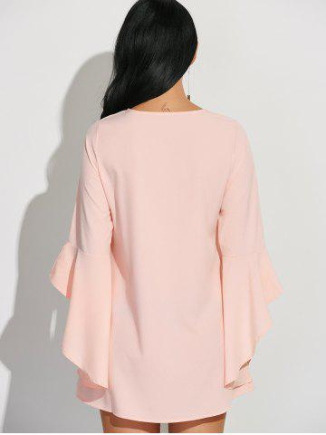 Hot Flare Sleeves Ruffled Blouse - XL SHALLOW PINK Mobile