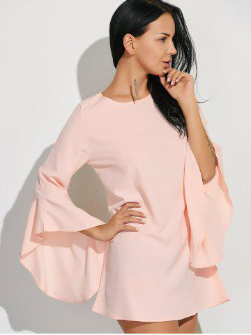Buy Flare Sleeves Ruffled Blouse - XL SHALLOW PINK Mobile