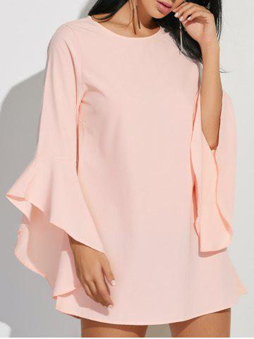 Latest Flare Sleeves Ruffled Blouse - L SHALLOW PINK Mobile