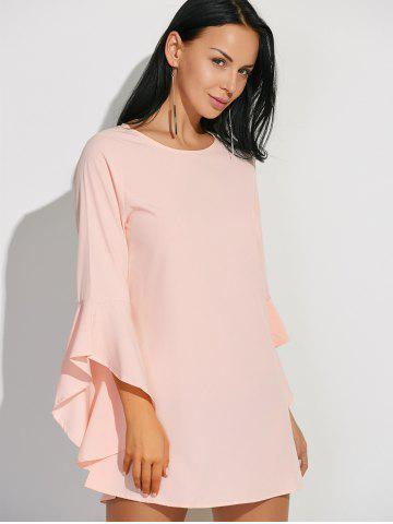 Hot Flare Sleeves Ruffled Blouse - M SHALLOW PINK Mobile
