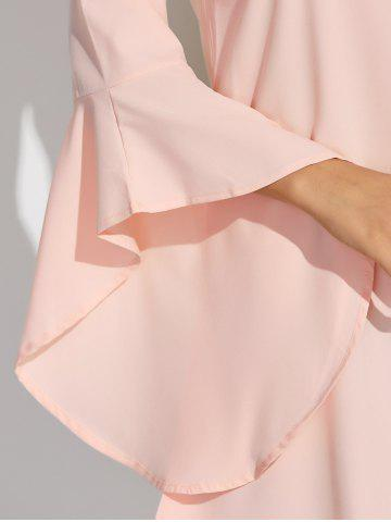 Sale Flare Sleeves Ruffled Blouse - M SHALLOW PINK Mobile