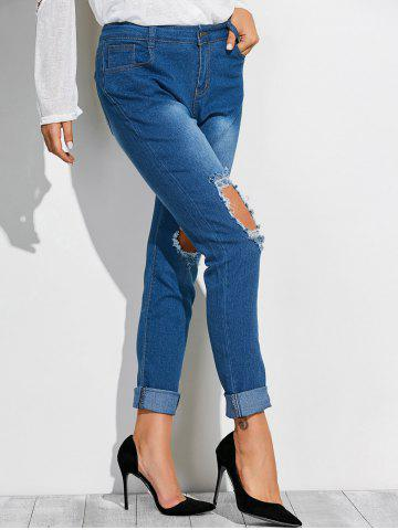 Buy Frayed Broken Hole Denim Pencil Pants - M DEEP BLUE Mobile