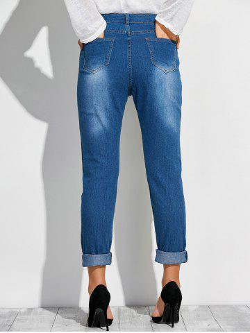 Hot Frayed Broken Hole Denim Pencil Pants - M DEEP BLUE Mobile