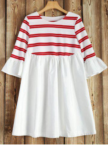 Discount Bell Sleeve Striped Patchwork Dress