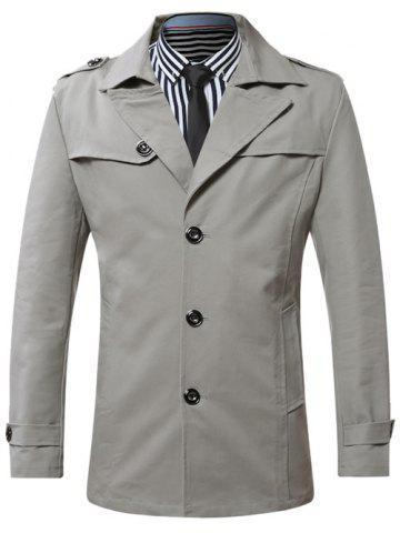 Sale Turn-Down Collar Single-Breasted Epaulet Trench Coat GRAY L