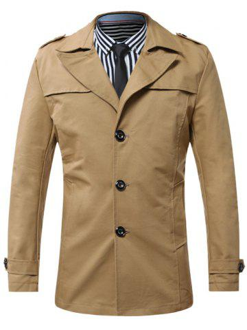 Turn-Down Collar Single-Breasted Epaulet Trench Coat