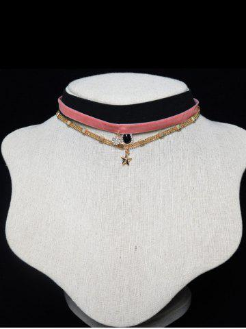 Store Triple Layered Velvet Star Beaded Chokers SHALLOW PINK