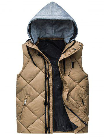 Discount Zipper Padded Hooded Vest
