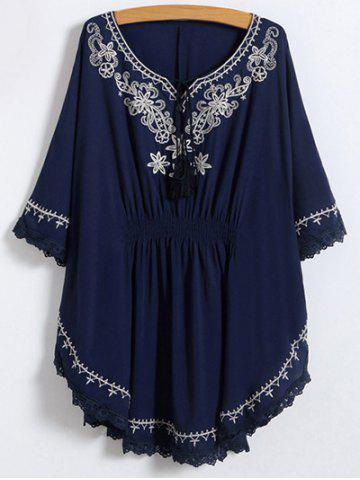 New Lace Trim Embroidered Cotton Peasant Blouse PURPLISH BLUE ONE SIZE