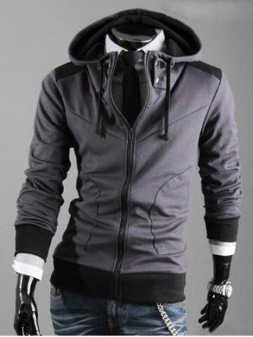 Hooded Color Block Drawstring Zipper Hoodie