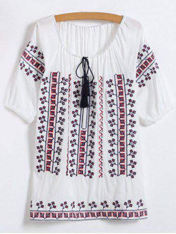 Fancy Embroidered Top WHITE ONE SIZE