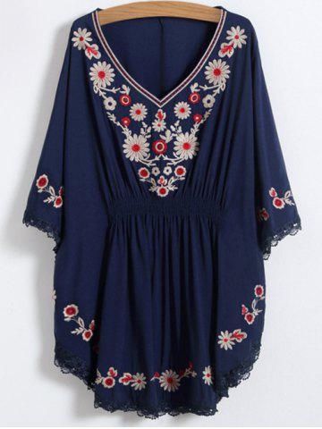 Unique V Neck Floral Mexican Embroidered Dolman Blouse