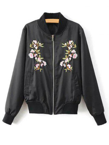 Outfits Stand Neck Floral Embroidered Fall Bomber Jacket BLACK S