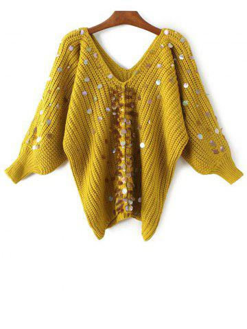 V Neck Sequins Faux Pearl Pullover Sweater - Yellow - One Size