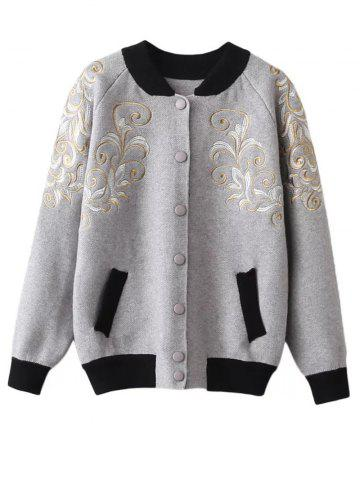 Store Stand Neck Embroidered Cardigan