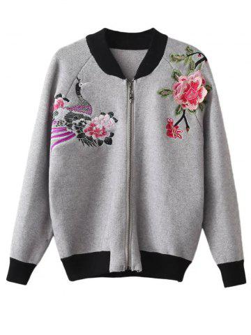 Online Floral Embroidered Front Zipper Cardigan GRAY ONE SIZE