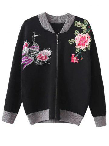 Floral Embroidered Front Zipper Cardigan - Black - One Size