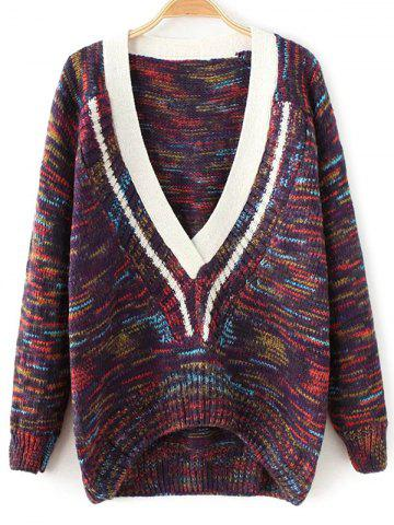 Outfits Plunging Neck Space-Dyed Sweater PURPLE ONE SIZE